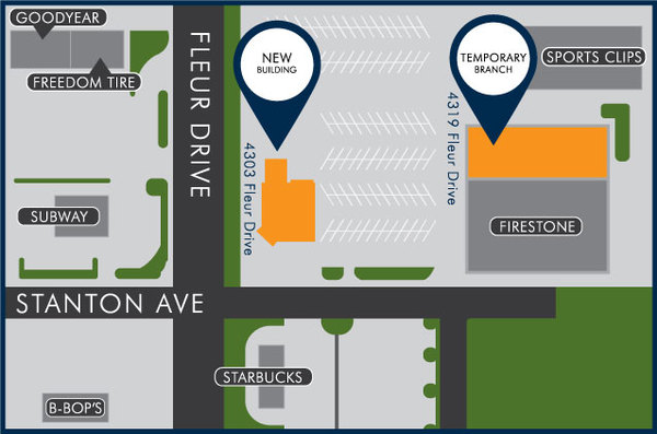 Map of the Fleur Drive and Stanton Avenue intersection.